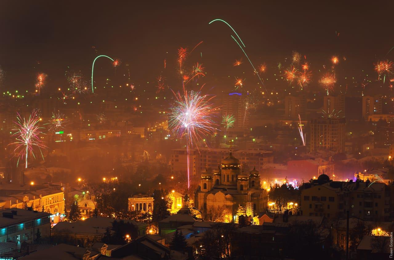 Вид на праздничный фейерверк, Пятигорск